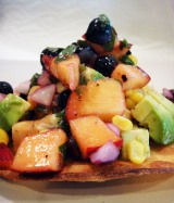 A Taste of Summer – Sweet and Spicy Glazed Chicken Tostadas with Blueberry Peach Salsa